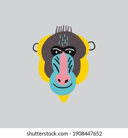 Cute vector primates in flat style.  Mandrill - primates cartoon character. Vector print in modern style