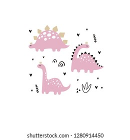 Cute vector print with pink dinosaur for baby girl. Cartoon hand drawn illustration witn pastel color dino.