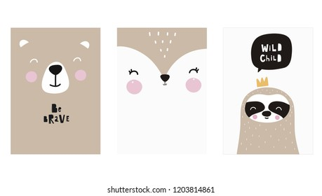 Cute vector print in scandinavian style. Hand drawn vector illustration for posters, cards, t-shirts. Cute sloth, bear, fox vector illustration