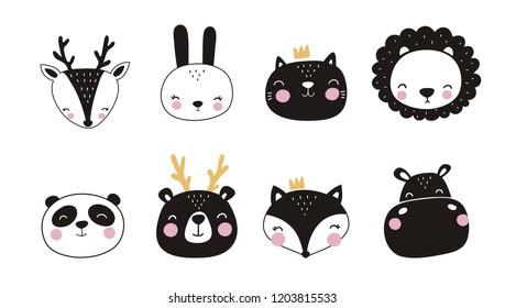 Cute vector print in scandinavian style. Hand drawn vector illustration for posters, cards, t-shirts. Monochrome sloth, hippo, fox, penguin, deer, tiger, bunny, panda, giraffe, bear
