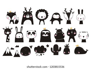 Cute vector print in scandinavian style. Hand drawn vector illustration for posters, cards, t-shirts. Monochrome sloth, hippo, fox, penguin, deer, tiger, bunny, panda, giraffe, bear