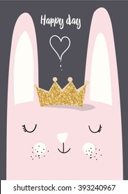 cute vector rabbit with crown glitter illustration