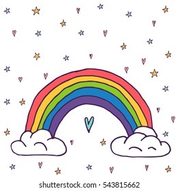 Cute vector rainbow with clouds and heart - hand drawn kawaii style illustration from children fairytale. Ink sketch with hearts, stars