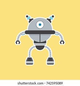 A cute vector robot illustrated in a simple flat style.