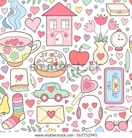 cute vector romantic doodle seamless pattern stock vector royalty