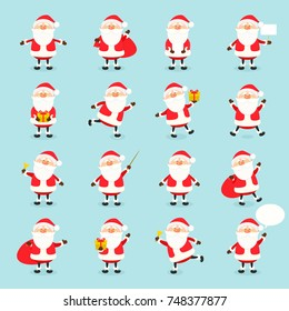 Cute vector Santa Claus icon set in flat style, christmas collection, xmas and New year character in different poses. Funny Santa with different emotions. Design template in EPS10
