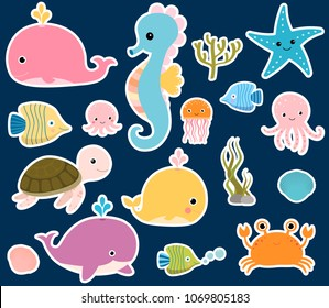 Cute vector sea animals stickers for baby designs, aquatic and nautical themes