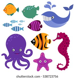 Cute vector sea creatures. Cartoon smiling sea animals. Colored sea fish and seahorse, whale and octopus illustration