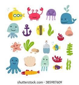 Cute vector sea print for kids