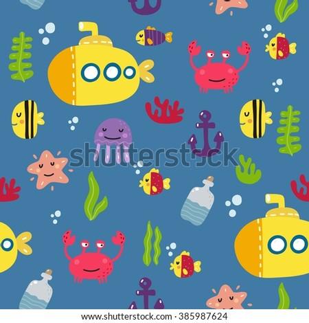 Cute Vector Sea Print Kids Stock Vector (Royalty Free) 385987624 ...