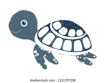 Cute vector sea turtle illustration with texture for summer graphic design