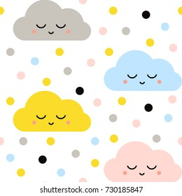 Cute Vector Seamless Baby Pattern with Clouds. Colorful Funny Print for Kids, Birthday card, Wallpaper, Texture, Baby Shower Invitation Template.
