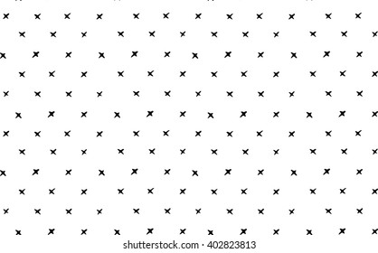 cute vector seamless hand drawn pattern with small crosses