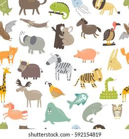Cute vector seamless pattern with animals. Cat, dog, elephant, alligator, lion, zebra, pig, unicorn, lion, rabbit, koala, bat, owl, fox.