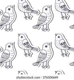 cute vector seamless pattern with bird sparrows