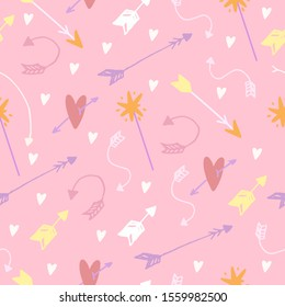 Cute vector seamless pattern in boho style. arrows, flowers, hearts, pastel colors, doodles, children's minimalism. magic shelf, stars. Background for baby