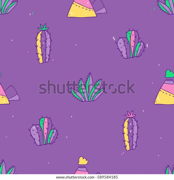 Cute vector seamless pattern with bright cactuses