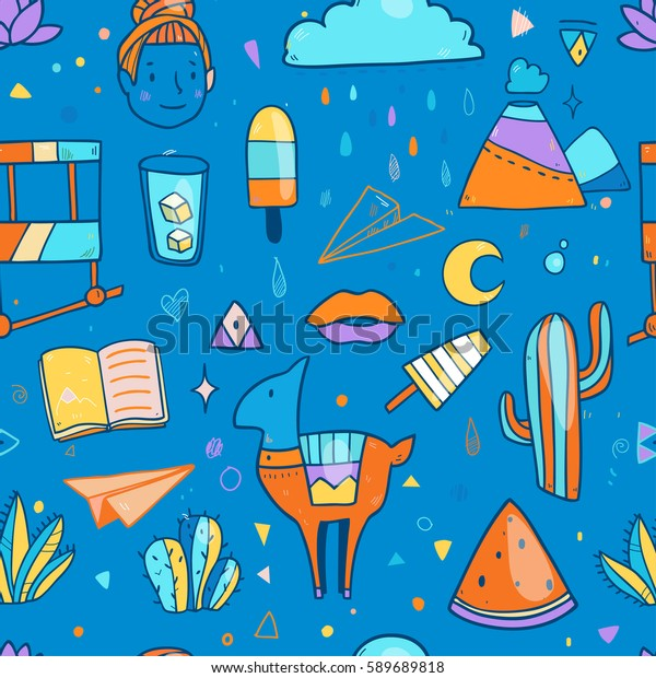 Cute vector seamless pattern with Chile elements like llama, cactuses, flowers, drinks, ice cream , book and so on
