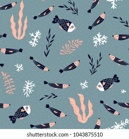 Cute vector seamless pattern with fish, algae and corals. Underwater seamless background. Childish fabric design.