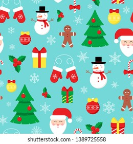 Cute vector seamless pattern with flat icons for Happy New Year and Christmas Day. Festive background with Santa Claus, Christmas tree, balls, gift box, snowflakes for print, decoration, wallpaper.