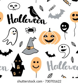 Cute vector seamless pattern with Halloween illustrations. Cute and funny cartoon characters: pumpkin, ghost, cat, bat, balloon, spider. Childish illustration with hand written text