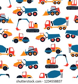 Cute vector seamless pattern with hand drawn  construction objects: bulldozer, excavator, crane, tractor, loader. Doodle illustration. Child print.