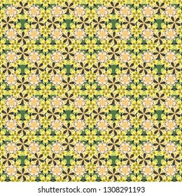 Cute vector seamless pattern with many repeating flower bouquetes. A lot of flowers in gray, beige and yellow colors.