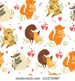 Cute vector seamless pattern. maternal love. mother and baby. mothers Day. chicken, fox, badger, raccoon, lynx.