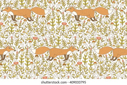 cute vector seamless pattern with running foxes, flowers, leaves, drops and mushrooms.