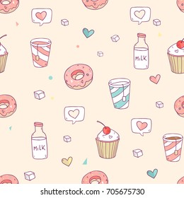 Cute vector seamless pattern set with tasty elements for coffee drink, tea, cupcakes, donuts, milk, sweets and so on