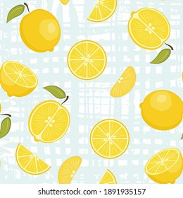 Cute vector seamless pattern with yellow lemons on pastel blue crossed brush strokes background. Fresh fruits texture for textile, wrapping paper, surface, wallpaper design