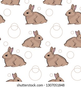 Cute vector seamless pettern with sitting brown rabbit and rings illustration. Easter bunnies.