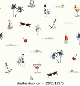 Cute Vector is seamless and repeatable. Tropical summer elements print Wallpaper with nature beach island mood on white background,  Design for fashion fabric,wallpaper,web,and all prints