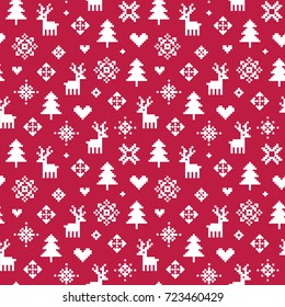 Cute vector seamless winter holiday background in red and white. Forest theme with reindeer, trees, snowflakes and hearts for Christmas. For greeting cards, gift wrapping paper, wallpapers.