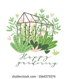 Cute vector seasonal greeting card - Growing flowers and plants in the greenhouse. Spring garden background with text 'Happy gardening'.