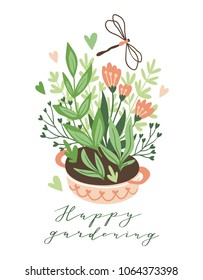 Cute vector seasonal greeting card - Growing flowers in the flower bed. Spring garden background with text 'Happy gardening'.