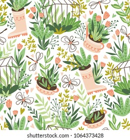 Cute vector seasonal seamless pattern. Growing flowers and plants in the greenhouse. Spring endless garden background. Happy gardening.