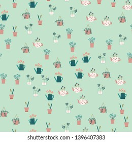 Cute vector seasonal seamless pattern. Seamless flower pattern. Botanical ornament. Modern abstract design for paper, cover, fabric and for your design. Hand-drawn. Flat design. Vector illustration.