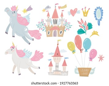 Cute Vector Set of Adorable Unicorns, Castles and Balloons. Lovely Princess Set.