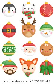 A cute vector set of animals and character christmas balls