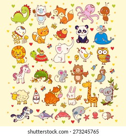 Cute vector set of  animals, fish and birds: giraffe, fox, elephant, cat, lion, zebra, whale, panda, owl.