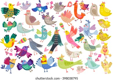 Cute vector set of birds.