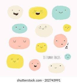 Cute vector set in cartoon style. Funny happy smiley faces. Happy doodles for your design. Beautiful cartoon elements.