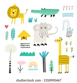 Cute vector set of children's drawings - exotic animals and plants. Doodle style. Ideal for childs decoration. African set. Elephant, giraffe, crocodile and lion.