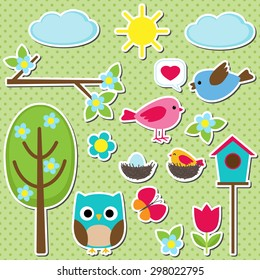 Cute vector set of different spring stickers. Nature decorative elements for scrapbooking