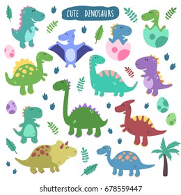 Cute vector set with dinosaurs. Funny smiling animals, footprins, eggs, baby, palm.