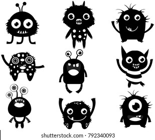 Cute vector set with fun monster silhouette in black color for children designs