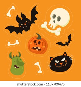 Cute vector set with Halloween illustrations. Smiling and funny cartoon characters: pumpkin, cat, bat, skull. Stickers, icons, design elements