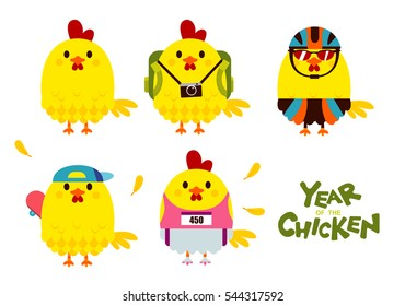 Cute Vector Set of Happy,Yellow Chicken Character in Different Outfit, isolated on White Background, for The Year of The Chicken.