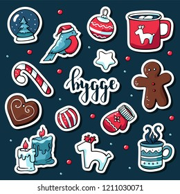 Cute vector set of hygge stickers. Cute illustration winter and christmas hygge elements. Scandinavian style with hygge lettering.
